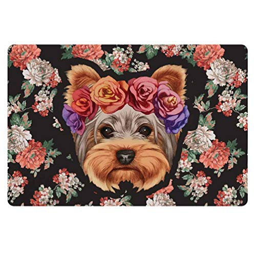 Coloranimal Floral Yorkie Doormat Non Skid Rubber Backing Home Decor Door Mats Entry Way Patio Garden Garage Balcony Insides Outsides Rugs by Coloranimal