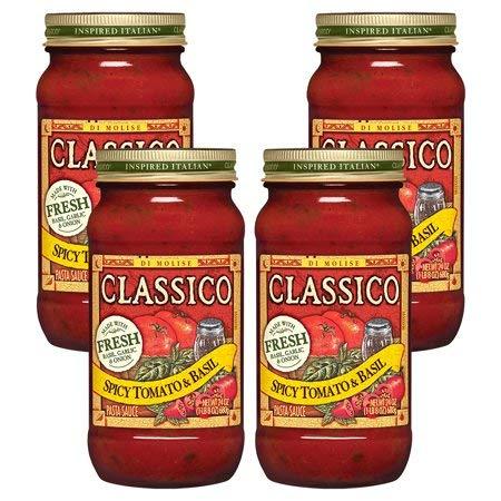 Pasta Sauce Signature Recipes Spicy Tomato & Basil, 24 oz (4 Packs)