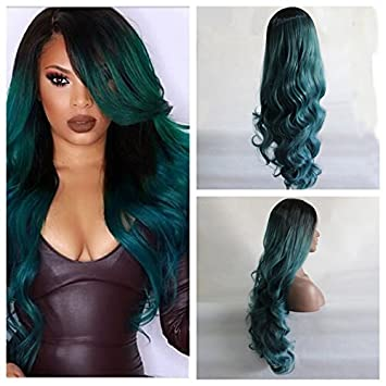 Amazon Com Long Ombre Black To Green Hair Synthetic Lace Front