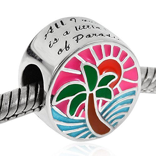Tropical Sunset Charm 925 Sterling Silver Palm Tree Ocean Sun Beads Sea Waves Charms by Fit DIY Charms (Image #1)