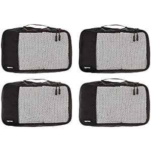 Amazon Basics Small Packing Travel Organizer Cubes Set, Black – 4-Piece Set