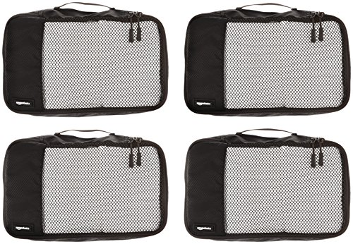 Amazon Basics 4 Piece Small Packing Travel Organizer Cubes Set 2 Double zipper pulls make opening/closing simple and fast Mesh top panel for easy identification of contents, and ventilation Soft mesh won't damage delicate fabrics
