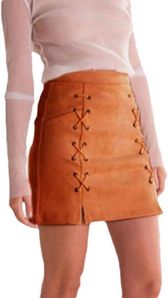AngelSpace Mini Falda con Cordones de Cintura Alta de Color Liso ...