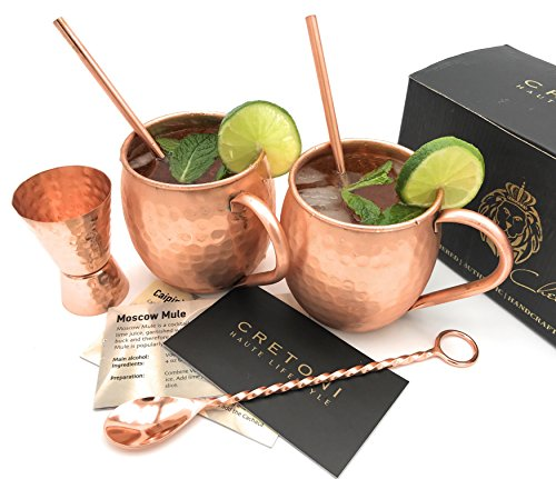 Cretoni Copperlin Pure Copper Hammered Moscow Mule Mugs Set of 2 with BONUS - HANDCRAFTED 16 oz MUGS WITH 2 Copper Straws, Hammered Jigger & Twisted Bar Spoon - The Ultimate Gift set! by Cretoni