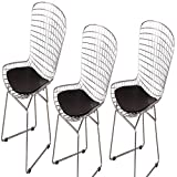 MLF Harry Bertoia Wire Side Chair (Set of 3). Chromed Wire Frame with Plastic Feet & PU Leather Cushion. (Black)