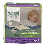 Seventh Generation Baby Overnight Diapers, Size 5, 20ct
