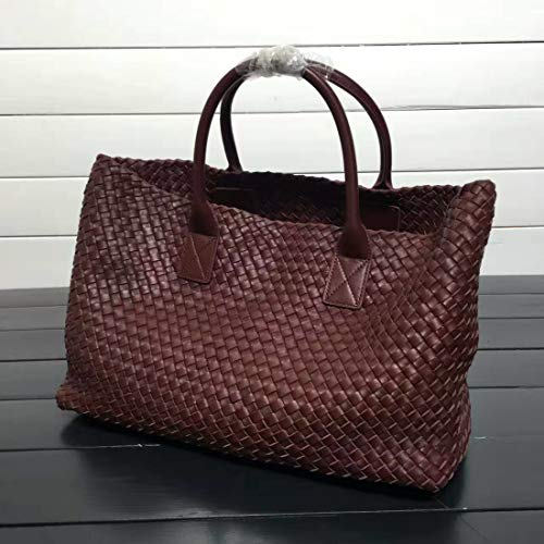 - Classic Designer Handbag Women Sheepskin Knitting Totes Bags Woven ping Basket Large Casual Bags Wine Red