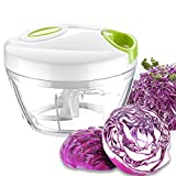Manual Food Chopper, 2 Cup Handheld Food Processor with BPA free Bowl and Removable Blades, Hand-Powered Food Chopper Mincer for Fruits, Vegetables, Herbs, Onions and Garlics, etc, K73-003