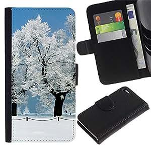 // PHONE CASE GIFT // Moda Estuche Funda de Cuero Billetera Tarjeta de crédito dinero bolsa Cubierta de proteccion Caso Apple Iphone 4 / 4S / White Snow Forrest /