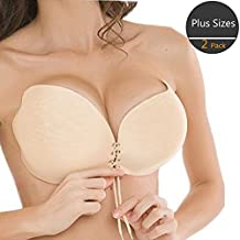 Reusable Self Adhesive Invisible Silicone Plus Size Push Up Bra, Pack of 2
