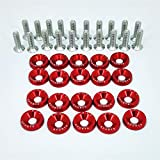 20X RED JDM Billet Aluminum Fender/Bumper Washer/Bolt Engine Bay Dress UP KIT