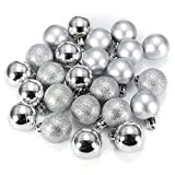 Ornament Ball - SODIAL(R)24Pcs Chic Christmas Baubles Tree Plain Glitter XMAS Ornament Ball Decoration Silver