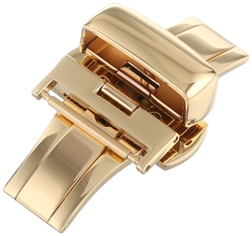 Push Button Deployant Buckle - Hadley-Roma 18-mm IP Yellow Gold-Plated Push Button Deployant Clasp