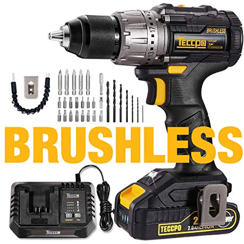 Cordless Drill Brushless, 20V MAX TECCPO 530 In-lbs Compact Cordless Drill, 30mins Fast Charger 4.0A, 2.0Ah Li-ion Battery, 21+1 Torque Setting, LED Light, 29pcs Accessories - TDHD02P