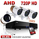 ELEC AHD 720P 8CH-4CAM DVR Video Surveillance Security Camera System with Pre-Installed 1TB Hard Drive, (4pcs) 2000TVL 1.3MP CCTV Weatherproof 60ft Night Vision Bullet Cameras Remote Access√ Review