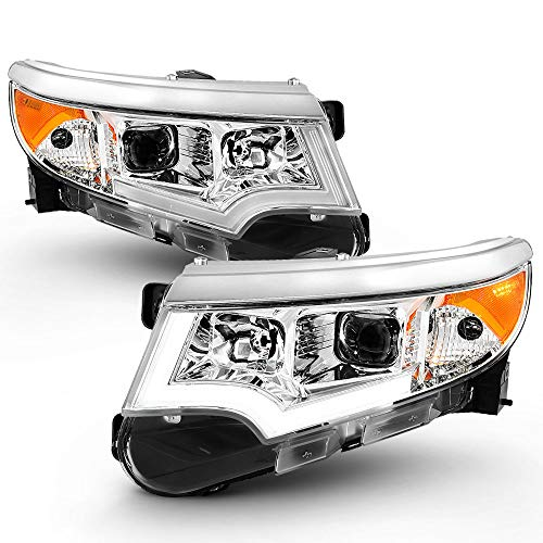 ACANII - For [Halogen Model Only] 2011-2014 Ford Edge Chrome Housing LED DRL Projector Headlights Headlamps ()