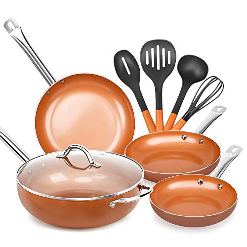 SHINEURI 9 Pieces Nonstick Ceramic Copper Cookware Set, 12 Inch Woks and Stir Fry Pans with Lid, 8/9.5/11 Inch Frying Pans Set and Kitchen Cooking Utensils for Induction, Gas, Electric & Stovetops ()