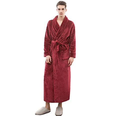 355e1493bf KKING Women s Men s Full Length Fleece Long Shawl Collar Robe Plus Size