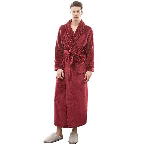 991060381a KKING Women s Men s Full Length Fleece Long Shawl Collar Robe Plus Size