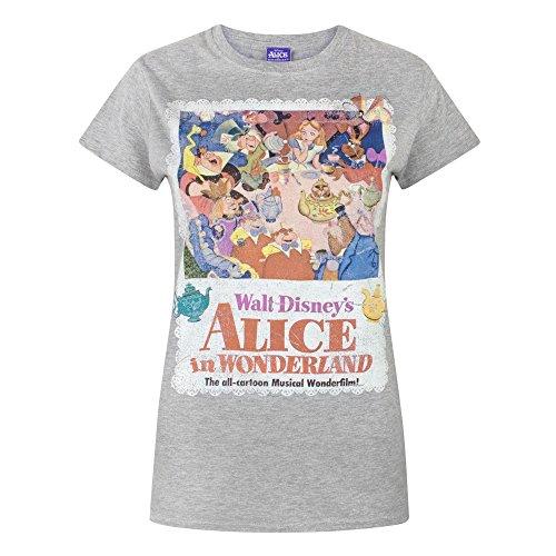 nel Alice Maglietta a Paese Corte Grigio Donna Maniche Disney Meraviglie delle Sn5qUWwaw