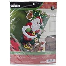Bucilla 18-Inch Christmas Stocking Felt Applique Kit, 86448 Santa and Teddy Bear