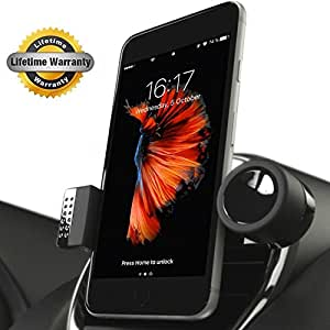 Luxury Car Cell Phone Mount Holder For Air Vents, 360° Rotation Fits All Smartphones Including iPhone X, 8, 7 | 7/8 Plus, 6, 6S, 5, 5S | 6 Plus, 6S Plus | Galaxy S6, S7, S7 Edge, S8, Note 7