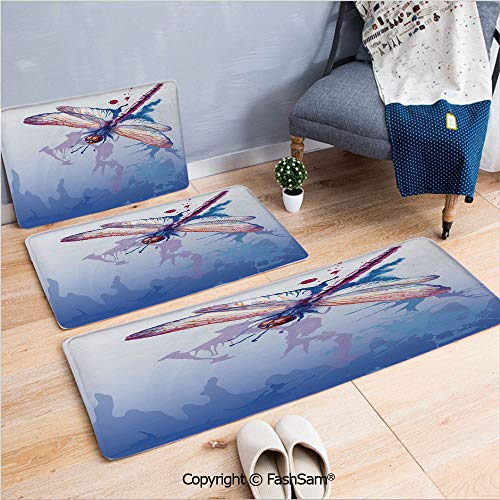 FashSam 3 Piece Non Slip Flannel Door Mat Colorful Purple Moth Watercolored Design with Abstract Grunge Blue Ombre Print Indoor Carpet for Bath Kitchen(W15.7xL23.6 by W19.6xL31.5 by W15.7xL39.4) ()
