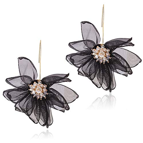 (Yiyie Simulation Flower Earrings Lace Organza Ladies Elegant Diamond Multicolor Earrings Elegant and Lightweight Temperament Girls Gift,Black)