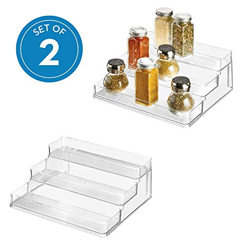 iDesign Linus Plastic Stadium Spice Rack Set, BPA-Free 3-Tiered Kitchen, Pantry, Bathroom, Vanity, Office, Craft Room Storage Organization, Set of 2, Clear ()