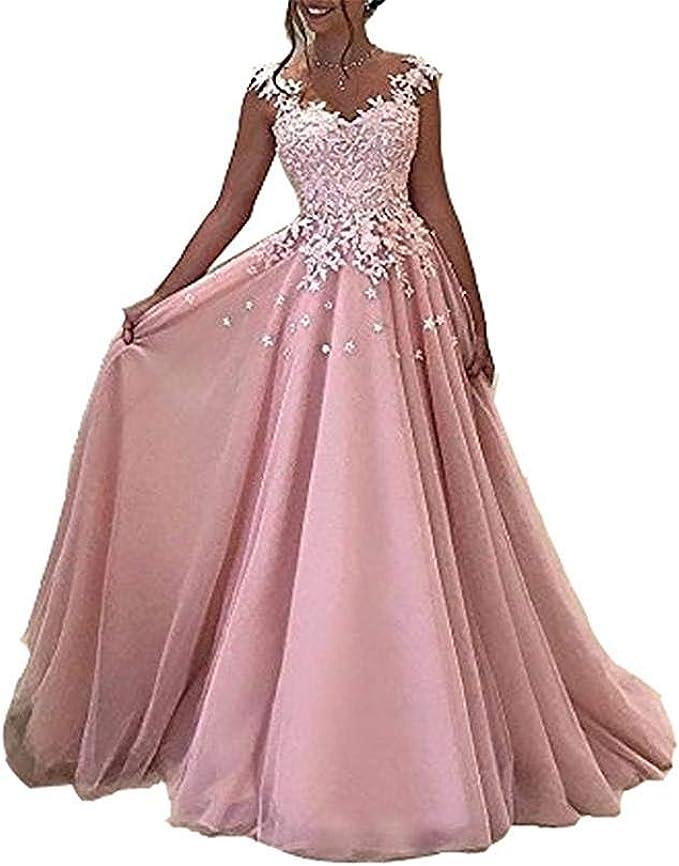 Yasiou Hochzeitkleid Lang Elegant Damen Rosa Lange Prom Kleider Lace Appliques Abendkleid Cocktailkleid Amazon De Bekleidung