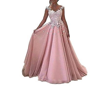 check out e96f6 9edbb YASIOU Hochzeitkleid Lang Elegant Damen Rosa Lange Prom ...