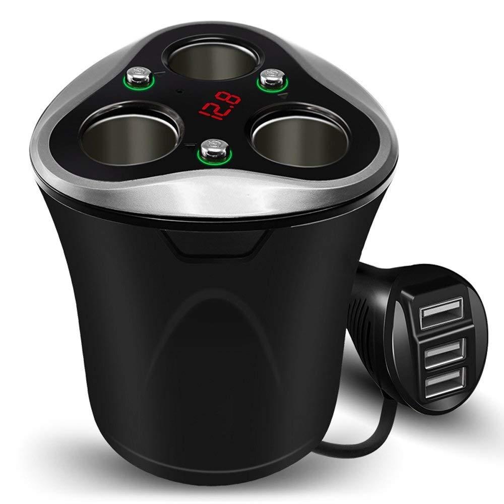 Car charger,3 Socket Cigarette Lighter Splitter Power Adapter + 3 USB 120W 12V/24V DC Outlet with Volt Meter (Black)