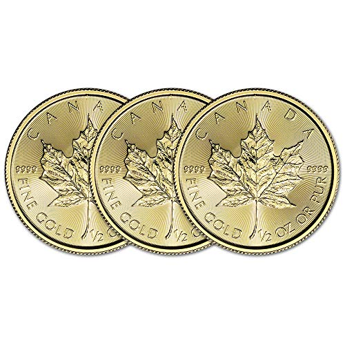 CA 2019 Canada Gold Maple Leaf (1/2 oz) THREE 3 Brilliant Uncirculated