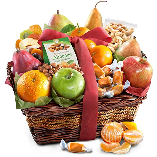 Golden State Fruit Orchard Delight and Gourmet Gift Basket (Birthday Chocolate Fruit Basket)