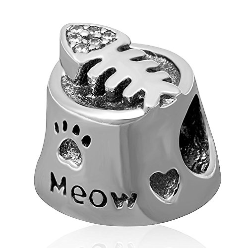 Fish Bone Charm with Clear Cubic Zirconia .925 Sterling Silver Cat Lover Beads for Charms Bracelet (Bracelets Zirconia Fish)