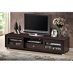"Baxton Studio Wholesale Interiors Beasley TV Cabinet with 2 Sliding Doors and Drawer, 70"", Dark Brown"