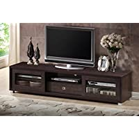 Wholesale Interiors Baxton Studio Beasley TV Cabinet with 2 Sliding Doors and Drawer, 70, Dark Brown