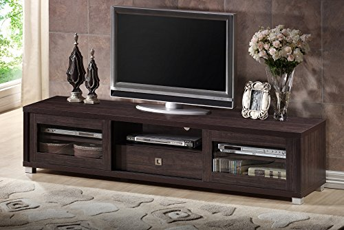 (Baxton Studio Wholesale Interiors Beasley TV Cabinet with 2 Sliding Doors and Drawer, 70