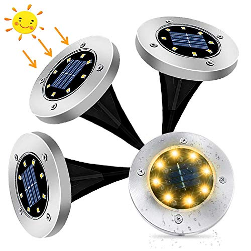 XERGY 4 Pack Solar Ground Lights, LED Solar Powered Disk Lights Outdoor Waterproof Garden Landscape Lighting for Yard Deck Lawn Pathway Walkway Balcony Decoration (Warm White)