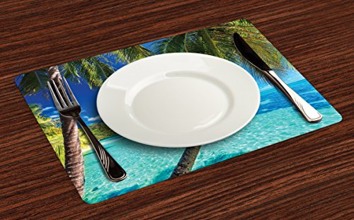 Ambesonne Ocean Place Mats Set of 4, Image of a Tropical Island with The Palm Trees and Clear Sea Beach Theme Print, Washable Fabric Placemats for Dining Room Kitchen Table Decor, Turquoise Blue