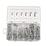 Weite 150 Pieces Mechanical Hitch Hair R Clip Cotter Pin Tractor Clip Key Fastner Fitting Assortment Kit, Includes Portable Storage Case (Silver)