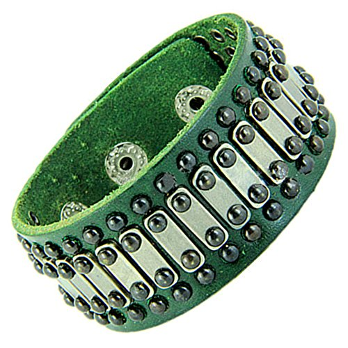 Gracallet® Green Fashion Punk Rock PU Leather Material Wristband Cuff Chain Bracelet for Lady, Men, Women, Girls, Boys