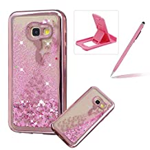 Liquid Clear Case for Samsung Galaxy A520 2017,Glitter TPU Cover for Samsung Galaxy A520 2017,Herzzer Luxury [Butterfly Princess Pattern] Soft Flexible with Electroplated Frame Flowing Sparkle Love Heart Star Crystal Back Case