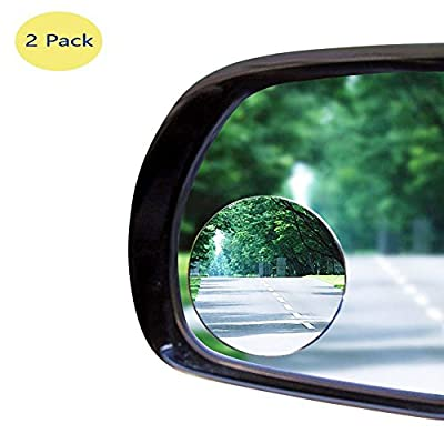 Newest ABS Convex Blind Spot Mirror, BORWAY Circle Frameless Add-on Car Mirror, 360 Degree Rotatable Rear-Viewing Mirror [Fast DIY Installation] for Car Taxi Motorcycle (ABS Mirrors, 2 Packs) by BORWAY