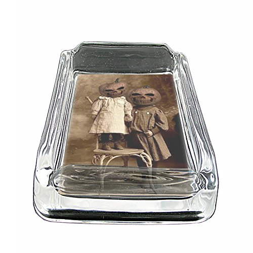 Perfection In Style Glass Square Ashtray Vintage Halloween Design 006