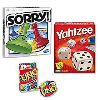 Classic Sorry!, Classic Yahtzee, & Classic UNO Bundle