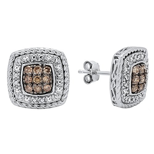 (Dazzlingrock Collection 0.40 Carat (ctw) Round Cut Champagne & White Diamond Stud Earrings, Sterling Silver)