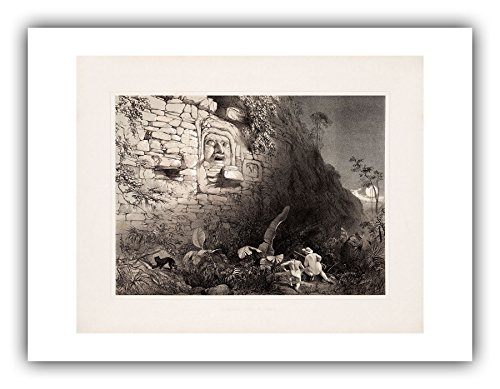 The Ibis Print Gallery - Frederick Catherwood : ''Colossal Head at Izamal (Plate 25)'' (Views of Ancient Monuments in Central America, Chiapas and Yucatan, 1844) - Giclee Fine Art Print