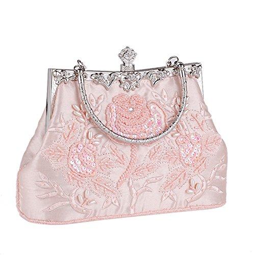 Chaîne Cheongsam Banquet Soirée Perlé De Pink Mariée De Vintage Sac Main De Sac Brodée Pochette Dames Dîner Soie à Sac En Sac HZ5BvqwPv