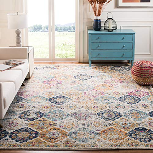 Safavieh Madison Collection MAD611B Cream and Multicolored Bohemian Chic Distressed Area Rug (4' x 6') (Dark Side Of The Moon White Vinyl Value)
